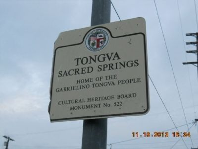 Tongva Sacred Springs Marker image. Click for full size.