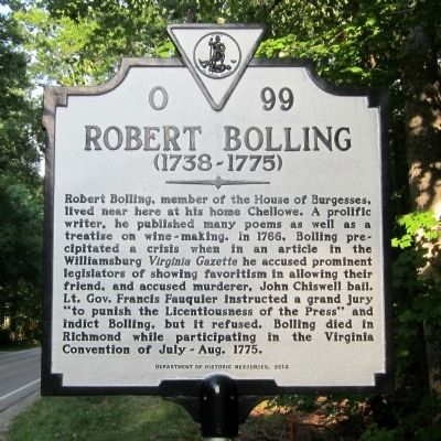 Robert Bolling Marker image. Click for full size.