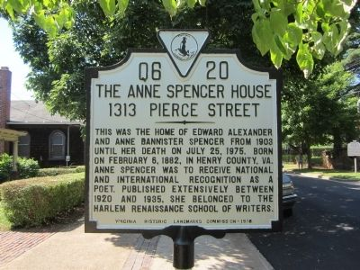The Anne Spencer House Marker image. Click for full size.