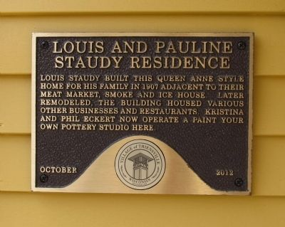 Louis and Pauline Staudy Residence Marker image. Click for full size.