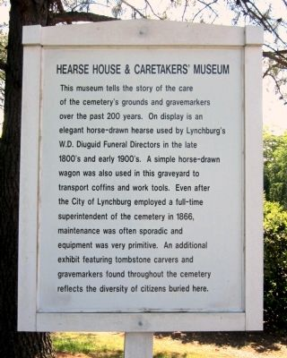 Hearse House & Caretakers' Museum Marker image. Click for full size.