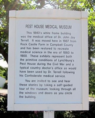 Pest House Medical Museum Marker image. Click for full size.