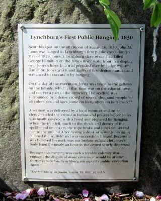 Lynchburg's First Public Hanging, 1830 Marker image. Click for full size.
