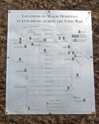Location of major hospitals in Lynchburg during the Civil War image. Click for full size.