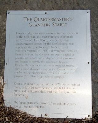 The Quartermaster's Glanders Stable Marker image. Click for full size.