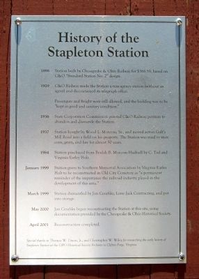 History of the Stapleton Station Marker image. Click for full size.