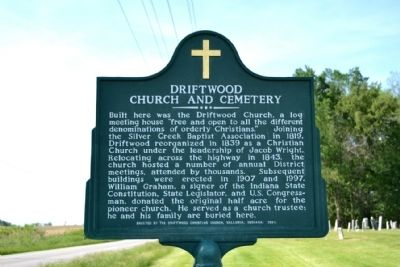 Driftwood Church and Cemetery Marker image. Click for full size.