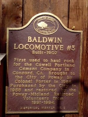 Baldwin Locomotive No. 3 Marker image. Click for full size.