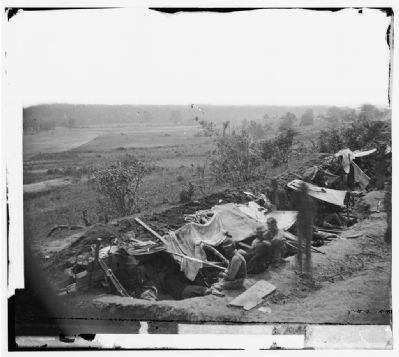 North Anna River, Va. Federal troops occupying line of breastworks on the north bank. image. Click for full size.