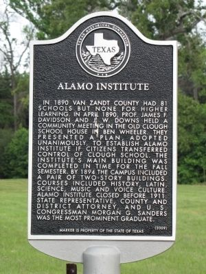 Alamo Institute Texas Historical Marker image. Click for full size.