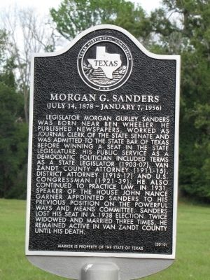 Morgan G. Sanders Texas Historical Marker image. Click for full size.
