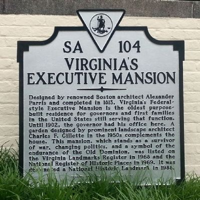 Virginia's Executive Mansion Marker image. Click for full size.