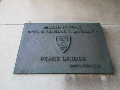 Peace Bridge Civil Engineering Landmark Plaque image. Click for full size.