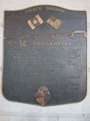 50th Anniversary Peace Bridge Plaque image. Click for full size.