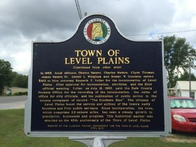 Town of Level Plains Marker (reverse) image. Click for full size.