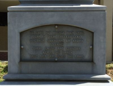 Confederate Soldiers Monument Marker - North Panel image. Click for full size.