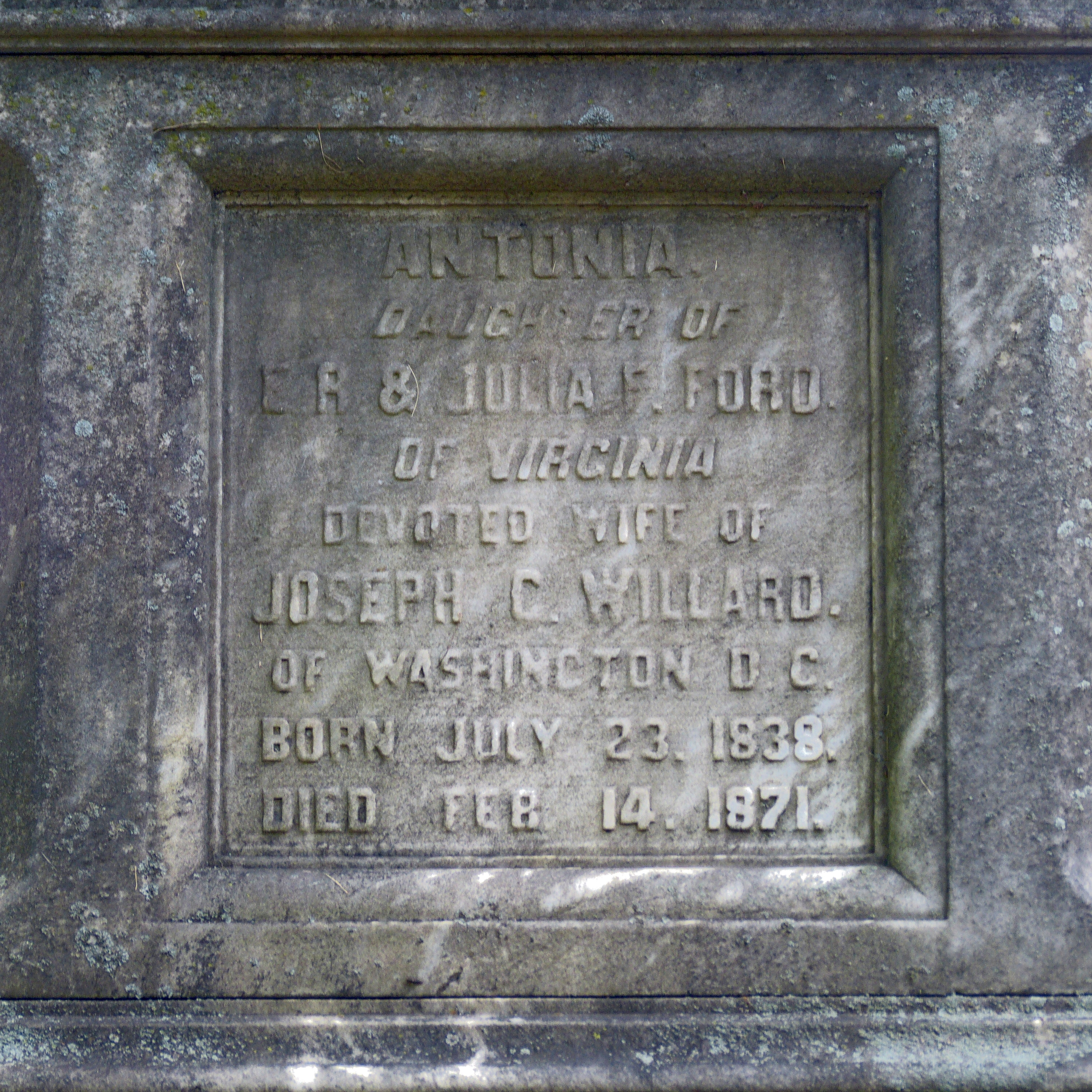 Inscription on Willard Monument