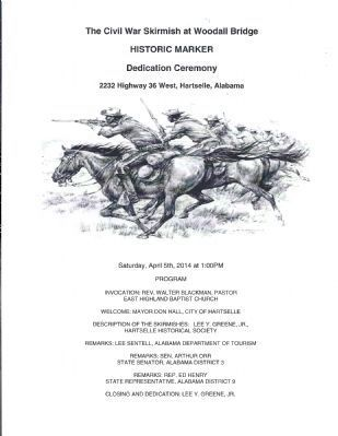 Skirmish at Woodall's Bridge Marker dedication program image. Click for full size.