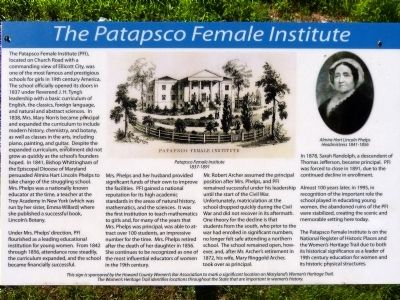 The Patapsco Female Institute Marker image. Click for full size.