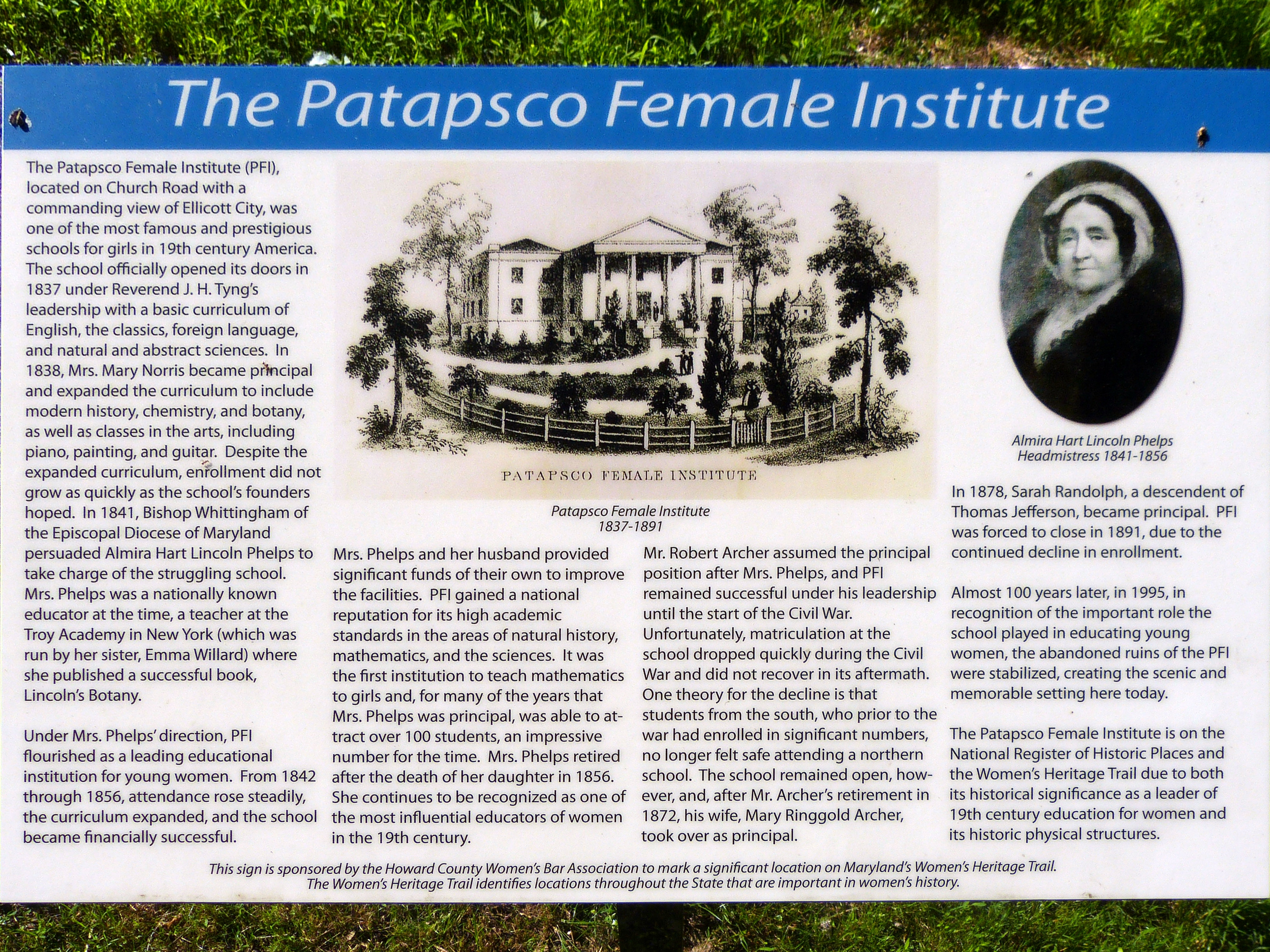 The Patapsco Female Institute Marker