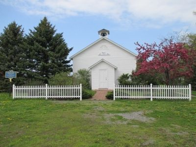 Front Randall Road Schoolhouse and Marker image. Click for full size.