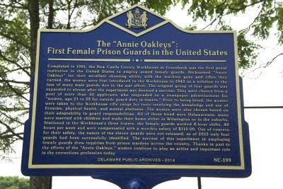 "The ""Annie Oakleys"": First Female Prison Guards in the United States Marker image. Click for full size."