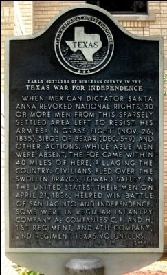 Early Settlers of Burleson County in the Texas War for Independence Marker image. Click for full size.