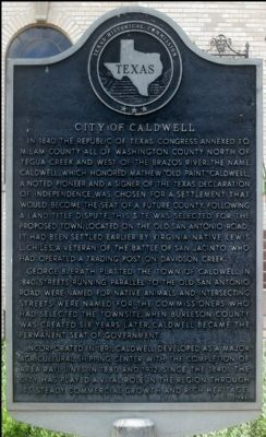 City of Caldwell Marker image. Click for full size.