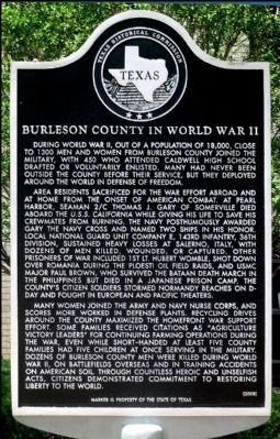 Burleson County in World WAR II Marker image. Click for full size.