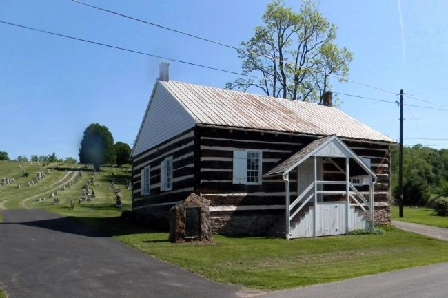 Wide view of the Blooming Grove Dunkard Meeting House (1828) and Marker image. Click for full size.