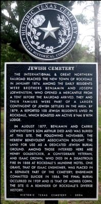 Jewish Cemetery Marker image. Click for full size.