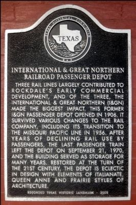 International & Great Northern Railroad Passenger Depot Marker image. Click for full size.