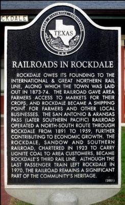 Railroads in Rockdale Marker image. Click for full size.