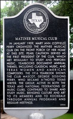 Matinee Musical Club Marker image. Click for full size.