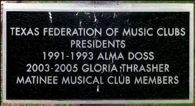 Sub-Marker to Matinee Musical Club Marker image. Click for full size.