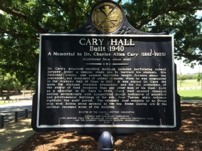 Cary Hall Marker (reverse) image. Click for full size.