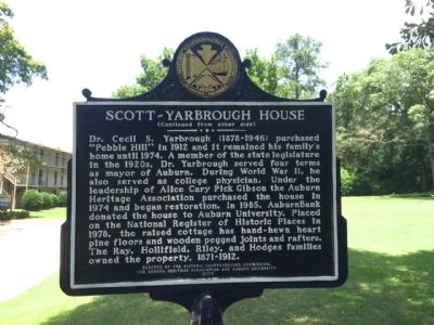 Scott-Yarbrough House Marker (reverse) image. Click for full size.