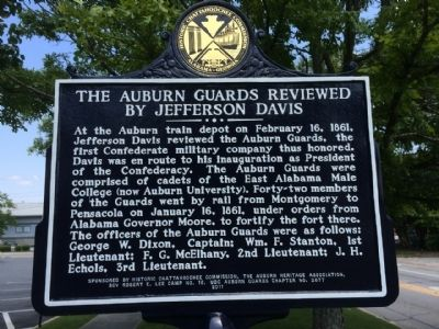 The Auburn Guards Reviewed by Jefferson Davis Marker image. Click for full size.