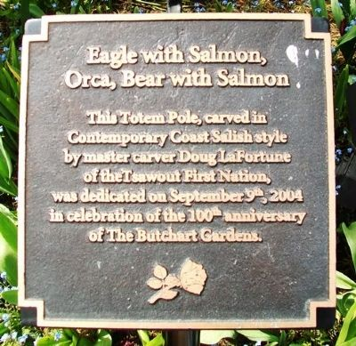 Eagle with Salmon, Orca, Bear with Salmon Totem Pole Marker image. Click for full size.