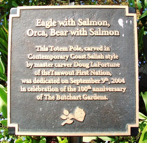 Eagle with Salmon, Orca, Bear with Salmon Totem Pole Marker