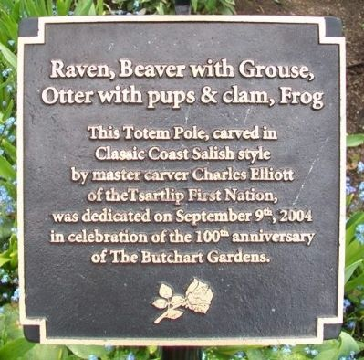 Raven, Beaver with Grouse, Otter with pups & clam, Frog Totem Pole Marker image. Click for full size.