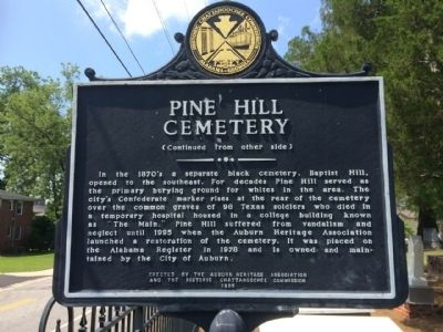 Pine Hill Cemetery Marker (reverse) image. Click for full size.