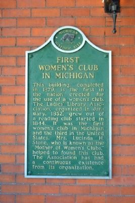 First Women's Club in Michigan Marker image. Click for full size.
