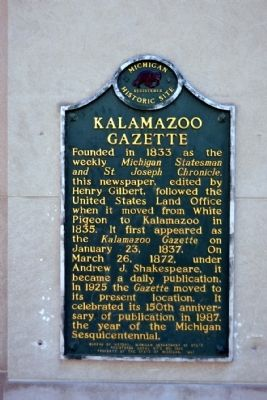 Kalamazoo Gazette Marker image. Click for full size.