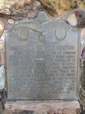 Discovery of Zion Canyon Marker image. Click for full size.
