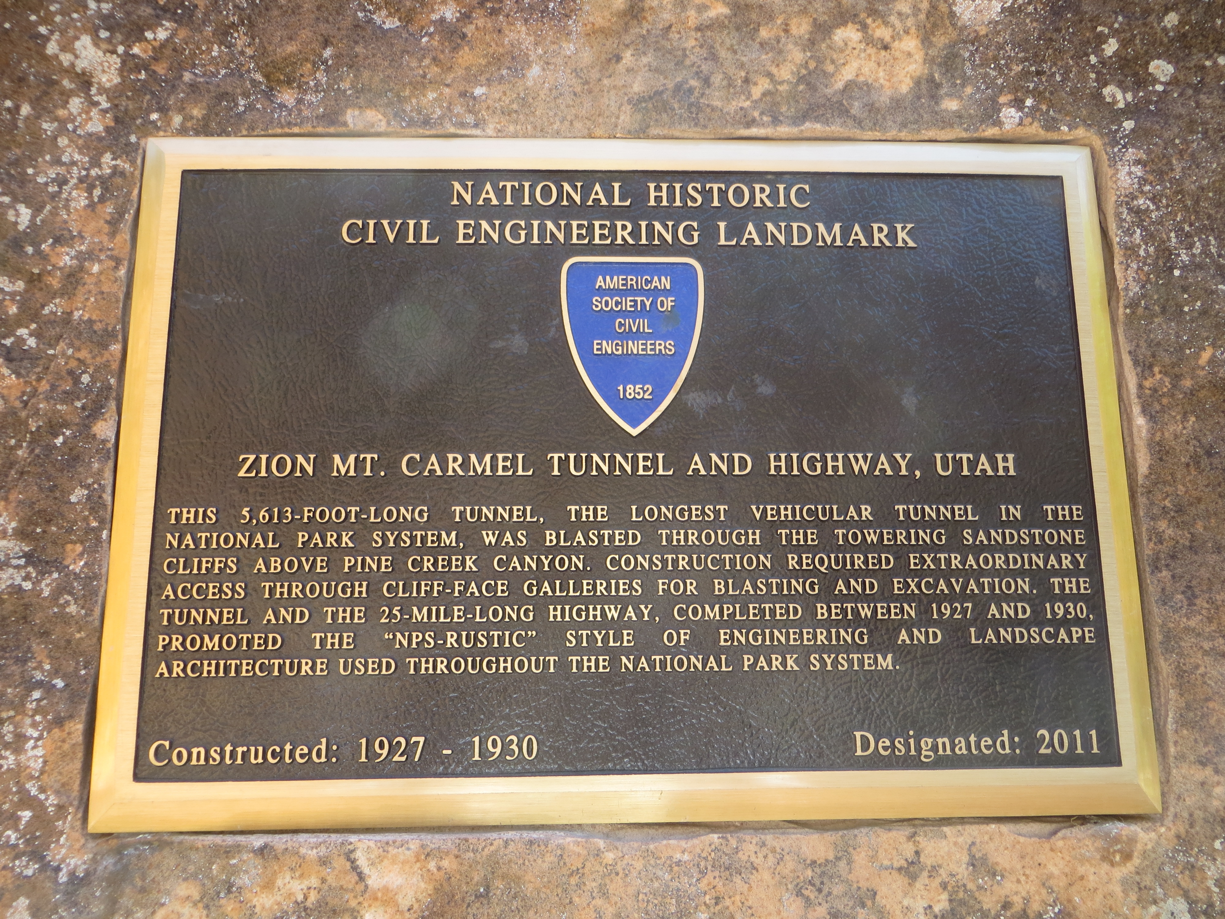 Zion Mt. Carmel Tunnel and Highway, Utah Marker