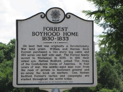 Forrest Boyhood Home Marker image. Click for full size.
