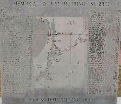 Close-up of the Memorial to USS <i>Herring</i> (SS-233) Marker <i>Panel 1</i> image. Click for full size.