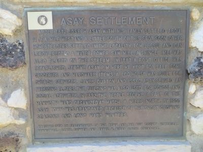 Asay Settlement Marker image. Click for full size.