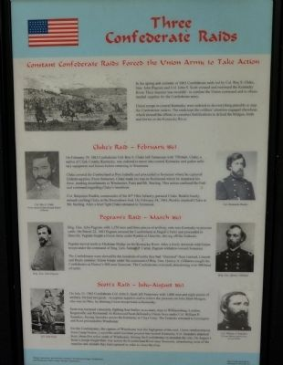 Three Confederate Raids Wayside Exhibit image. Click for full size.